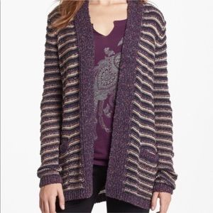 Lucky brand small purple knit striped cardigan